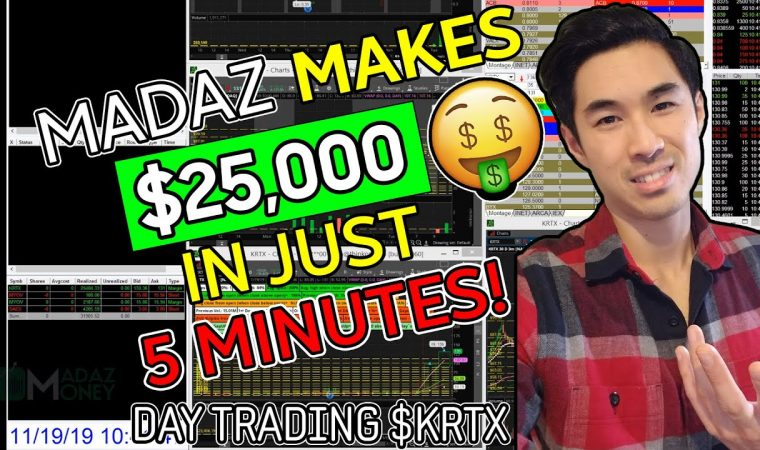 LIVE DAY #TRADING – DAY #TRADER MADAZ MAKES $25,000 IN 5 MINUTES ON $KRTX WASHOUT LONG! | +$46K DAY!