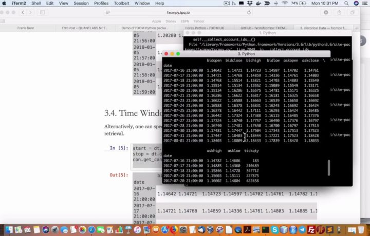 Demo of FXCM Python package for forex trading