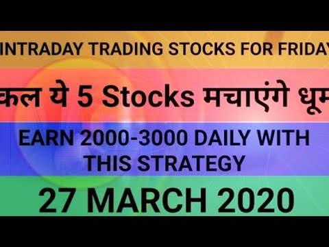 Intraday trading strategy for 27 March 2020   With Chart Explanation   Sure Profit