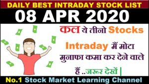 Best intraday trading stocks for 08 APR 2020 | Intraday trading strategies|Intraday trading tips|