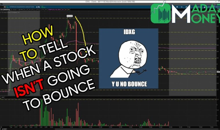 HOW TO TELL WHEN A STOCK ISN'T GOING TO BOUNCE – Differences w/Washout Longs – $IDXG Example 4/18/17